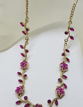 Vintage Plated Pink Rhinestone Floral Drop Necklace