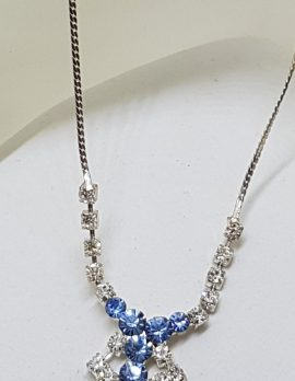 Vintage Plated Blue Rhinestone Drop Necklace