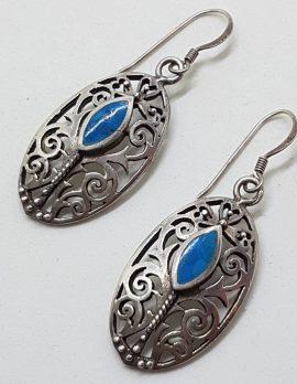 Sterling Silver Blue Filigree Oval Earrings - Vintage