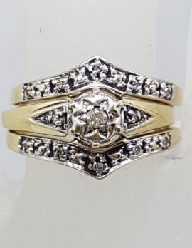 9ct Yellow Gold Diamond Wedding, Engagement and Eternity Three Ring Set - Antique / Vintage