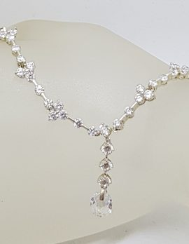 Plated Crystal Ornate Drop Collier Necklace - Wedding / Debutante