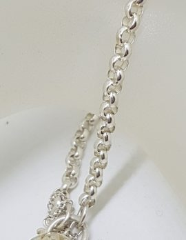 Sterling Silver Belcher Link Bracelet with Filigree Padlock
