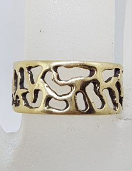 9ct Yellow Gold Wide Open Design Band Ring