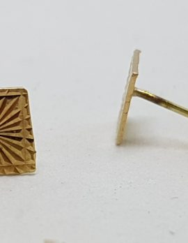 9ct Yellow Gold Square Patterned Stud Earrings - Vintage
