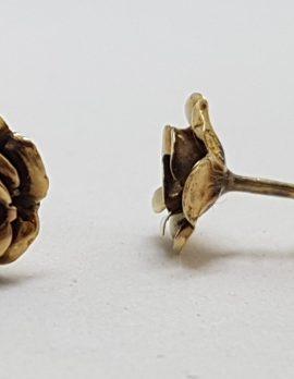 9ct Yellow Gold Rose Stud Earrings - Vintage