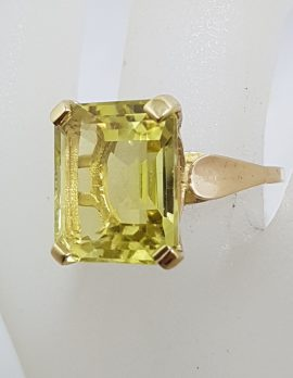 9ct Yellow Gold Large Rectangular Lemon Citrine Claw Set Ring - Antique / Vintage