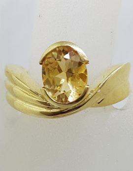 9ct Yellow Gold Oval Citrine Wide Twist Design Ring