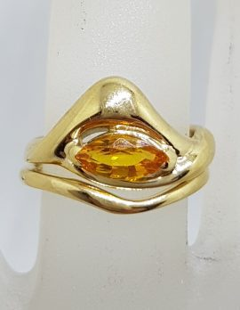 9ct Yellow Gold Unique Design Citrine Ring Set - Engagement / Wedding
