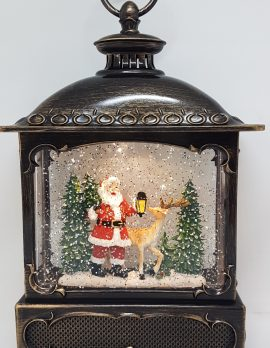 Musical Christmas Glitter Lantern – Santa with Lantern and Reindeer / Rudolph – Christmas Ornament Design #22