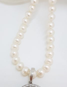 Sterling Silver Cubic Zirconia Round Ornate Enhancer Pendant on Pearl Necklace / Chain