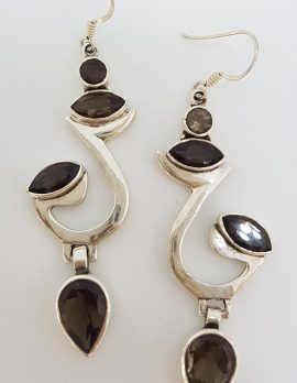 Sterling Silver Large Smokey Quartz Drop Earrings