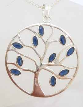Sterling Silver Sapphire Large Round Tree of Life Pendant on Sterling Silver Chain
