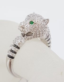 Sterling Silver Cubic Zirconia Cartier Inspired Panther / Cat / Puma Ring