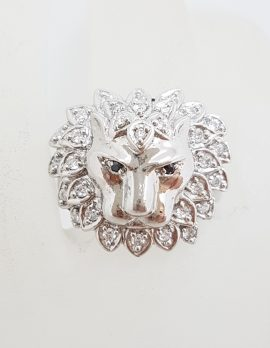 Sterling Silver Cubic Zirconia Lion Head Ring