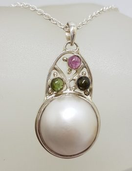 Sterling Silver Round Mabe Pearl with Pink and Green Tourmaline Ornate Arch Shape Pendant on Silver Chain