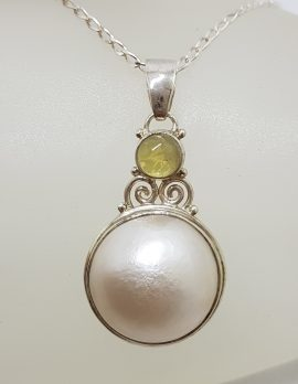 Sterling Silver Round Mabe Pearl with Green Tourmaline Ornate Pendant on Silver Chain