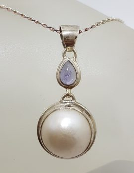 Sterling Silver Round Mabe Pearl with Iolite Drop Pendant on Silver Chain