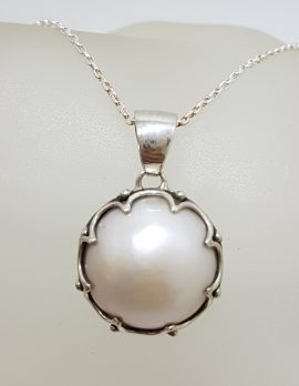 Sterling Silver Round Mabe Pearl in Ornate Claw Setting Pendant on Silver Chain