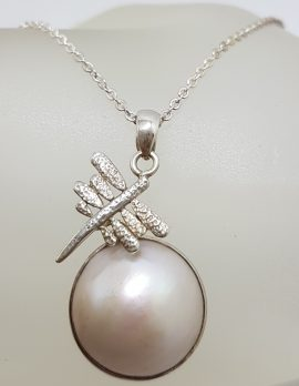 Sterling Silver Round Mabe Pearl Dragonfly Pendant on Silver Chain