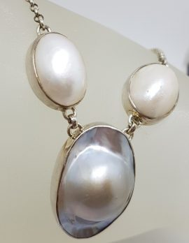 Sterling Silver Oval Mabe Pearl Necklace / Chain
