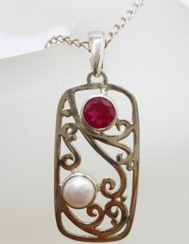 Sterling Silver Pearl with Red Cubic Zirconia Ornate Pendant on Silver Chain