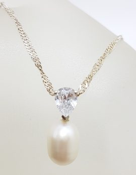 Sterling Silver Pearl with Cubic Zirconia Pendant on Silver Chain