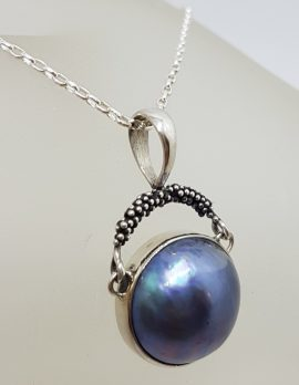 Sterling Silver Round Blue / Black Mabe Pearl Drop Pendant on Silver Chain
