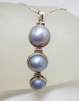 Sterling Silver Round Blue / Black Long Three Mabe Pearl Drop Pendant on Silver Chain