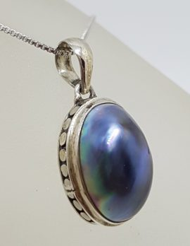 Sterling Silver Blue / Black Oval Mabe Pearl Pendant on Silver Chain
