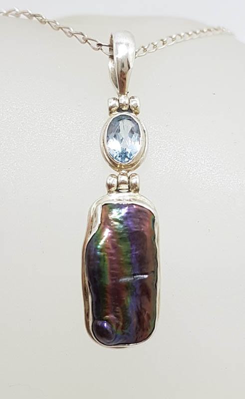 Sterling Silver Black / Blue Blister Pearl with Topaz Pendant on Silver Chain