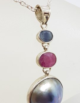 Sterling Silver Black / Blue Mabe Pearl Ruby and Sapphire Pendant on Silver Chain