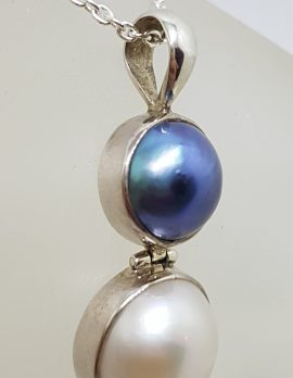 Sterling Silver Black / Blue & White Mabe Pearl Pendant on Silver Chain