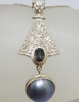 Sterling Silver Blue / Black Round Mabe Pearl with Mystic Quartz Ornate Filigree Long Drop Pendant on Silver Chain