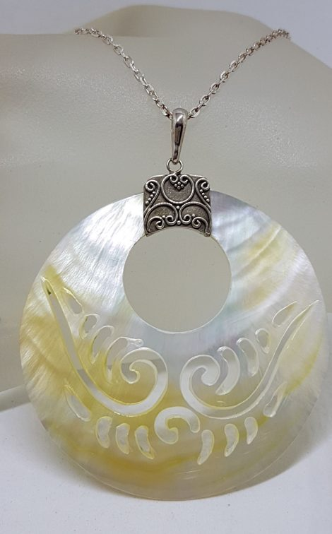 Sterling Silver Large Round Carved Mother of Pearl Pendant on Silver Chain