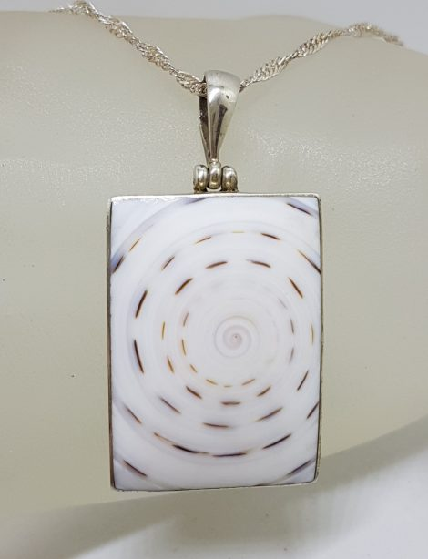 Sterling Silver Large Rectangular Shell Pendant on Silver Chain
