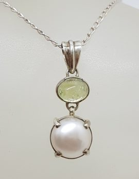 Sterling Silver Green Tourmaline and Pearl Pendant on Silver Chain