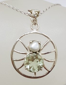 Sterling Silver Green Amethyst / Prasiolite and Pearl Spider Pendant on Silver Chain