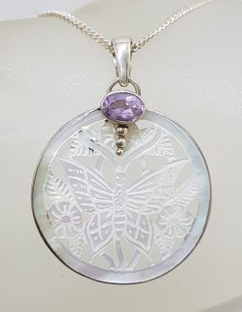 Sterling Silver Round Mother of Pearl Carved Butterfly with Amethyst Pendant on Silver Chain