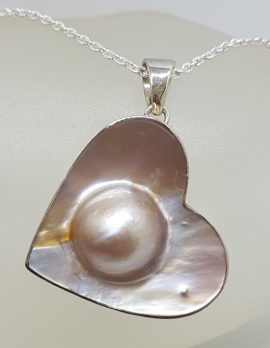 Sterling Silver Large Mabe Pearl Heart Pendant on Silver Chain