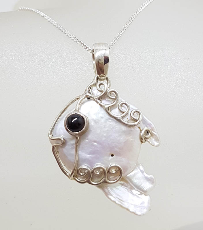 Sterling Silver Blister Pearl with Onyx Ornate Fish Pendant on Silver Chain