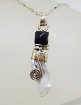 Sterling Silver Blister Pearl with Onyx Ornate Pendant on Silver Chain
