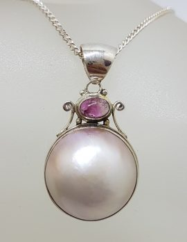 Sterling Silver Round Mabe Pearl with Tourmaline Ornate Pendant on Silver Chain