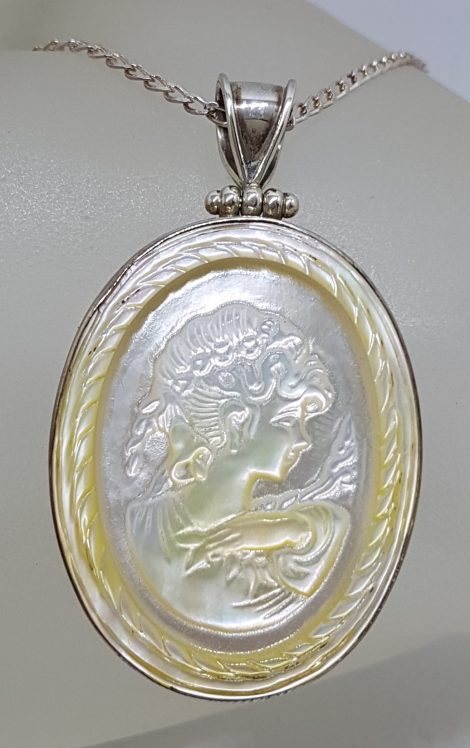 Sterling Silver Large Oval Carved Cameo Mother of Pearl Pendant on Silver Chain