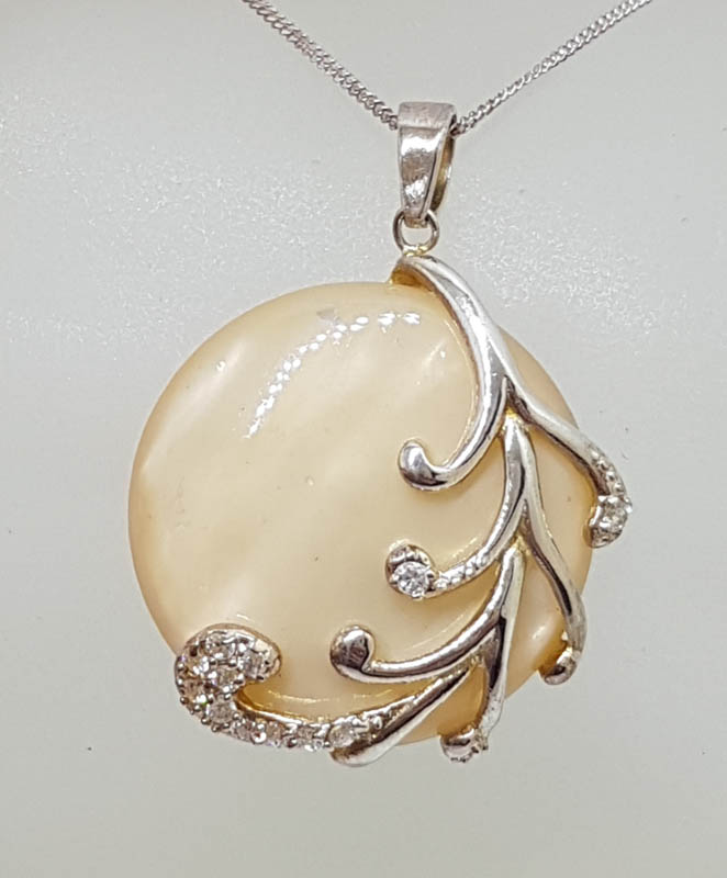 Sterling Silver Mother of Pearl with Cubic Zirconia Large Ornate Round Pendant on Silver Chain