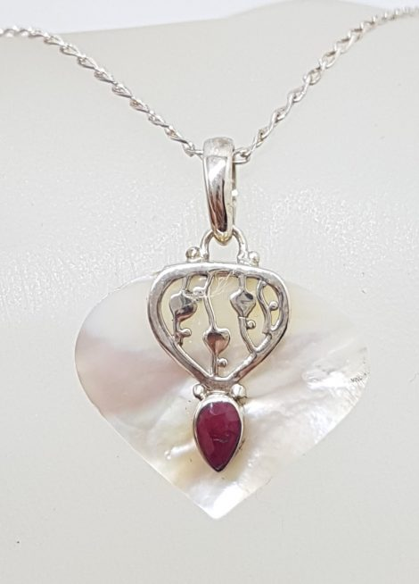 Sterling Silver Ruby and Mother of Pearl Heart / Teardrop / Pear Shape Pendant on Chain
