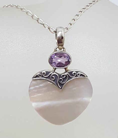 Sterling Silver Mother of Pearl Heart with Oval Amethyst Ornate Pendant on Silver Chain