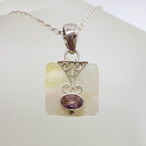 Sterling Silver Mother of Pearl Square with Oval Amethyst Ornate Pendant on Silver Chain