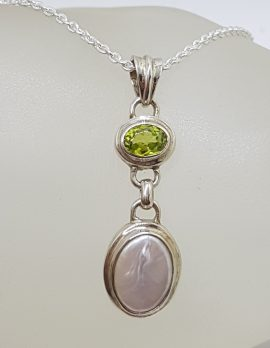 Sterling Silver Pearl with Peridot Drop Pendant on Silver Chain