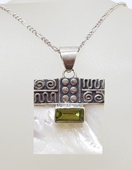 Sterling Silver Ornate Top Square Mother of Pearl with Rectangular Peridot Pendant on Silver Chain