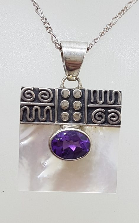 Sterling Silver Ornate Top Square Mother of Pearl with Oval Amethyst Pendant on Silver Chain